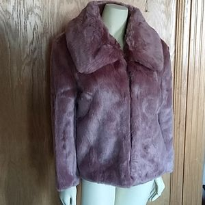 New Dusty mauve faux fur coat M vegan plush fur